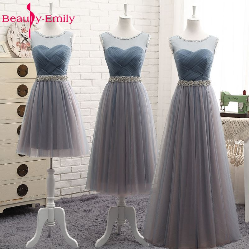 יופי אמילי באיכות גבוהה טול ארוך קצר שושבינה שמלות 2018 פורמליות אונליין בציר מסיבת שמלות נשף כבוי כתף