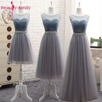 Beauty Emily High Quality Tulle Long Short Bridesmaid Dresses 2018 Formal A Line Vintage Party Prom