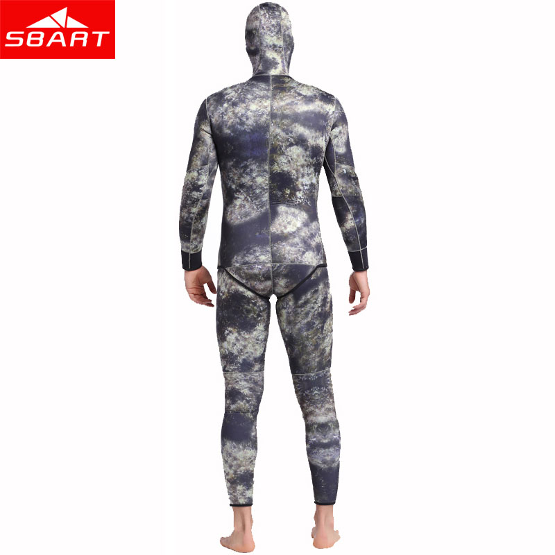 SBART Camo 5mm Men Neoprene Wetsuits Underwater Warm Hooded Spearfishing Wetsuit Spearfishing Diving Surfing Suits Camo Wetsuits