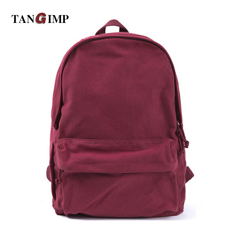 TANGIMP Solid Backpacks Canvas for Men Women Casual Preppy Style Soft Backpack Unisex School Bags bolso mochila mujer zaino fashion backpacks for men and women solid preppy style soft back pack unisex school bags big capicity canvas bag gw082
