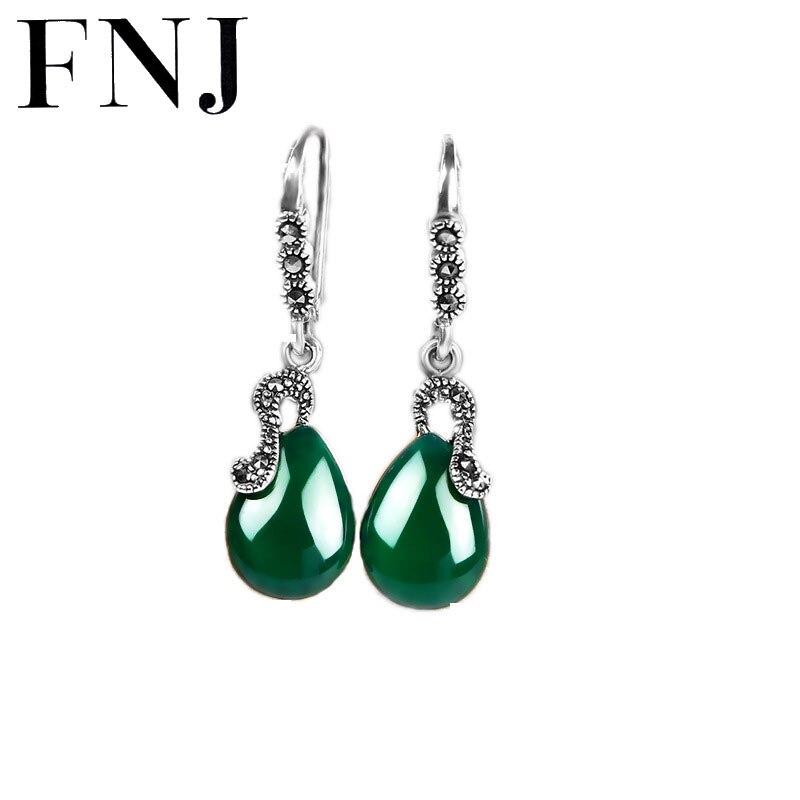 Real 925 Silver Earring Yellow Green Stone 100% S925 Sterling Silver boucle Blue Cubic Zircon Drop Earrings for Women Jewelry