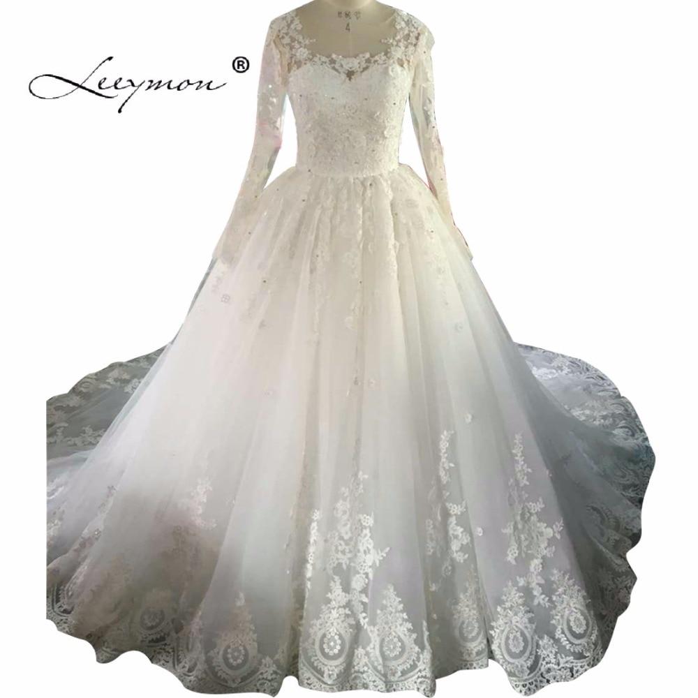 Leeymon Ball Gown Bateau Sheer Backless Bridal Dresses vestido de noiva robe de mariage Long Sleeve Lace Wedding Dres C33