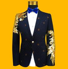 Slim fashion personality wool paillette blue formal dress men suits designs masculino homme stage costumes singers men blazer