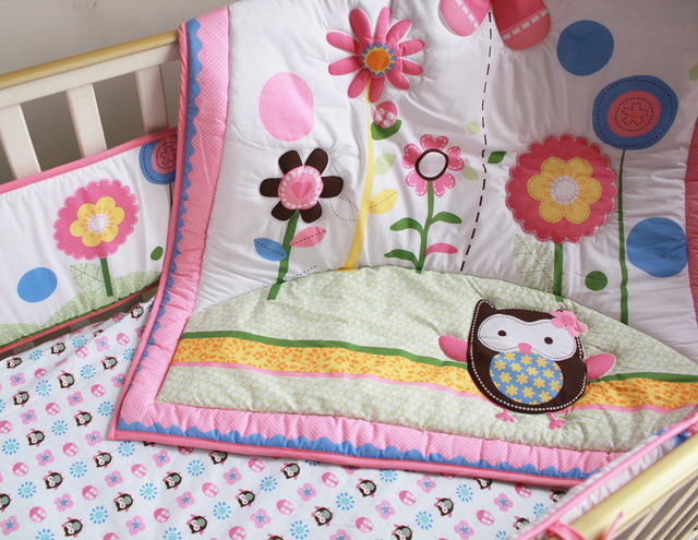 Promotion! 7PCS embroidery Baby Bedding Set Baby cradle crib cot bedding set  ,include(bumper+duvet+bed cover+bed skirt)