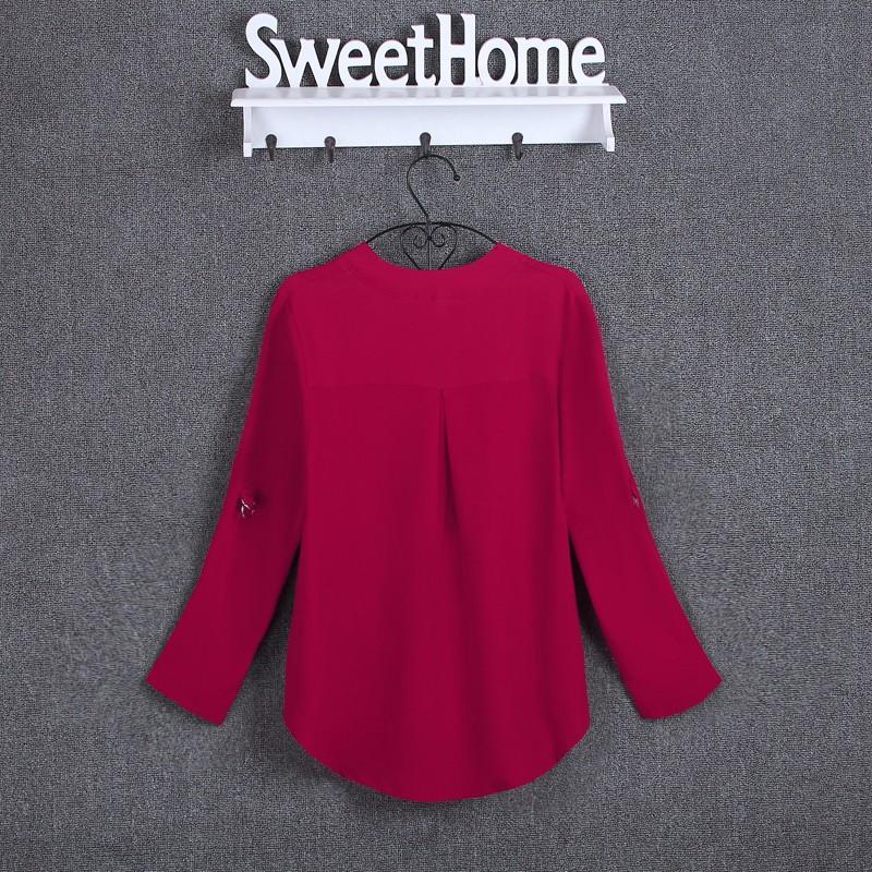 HTB15eQvKpXXXXXDXVXXq6xXFXXXj - Chiffon Blouse Shirts Women's Long Sleeve V-Neck
