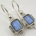 Solid Silver FACETTED LABRADORITE Gem Earrings 2.7 CM COMBINED SHIPPING
