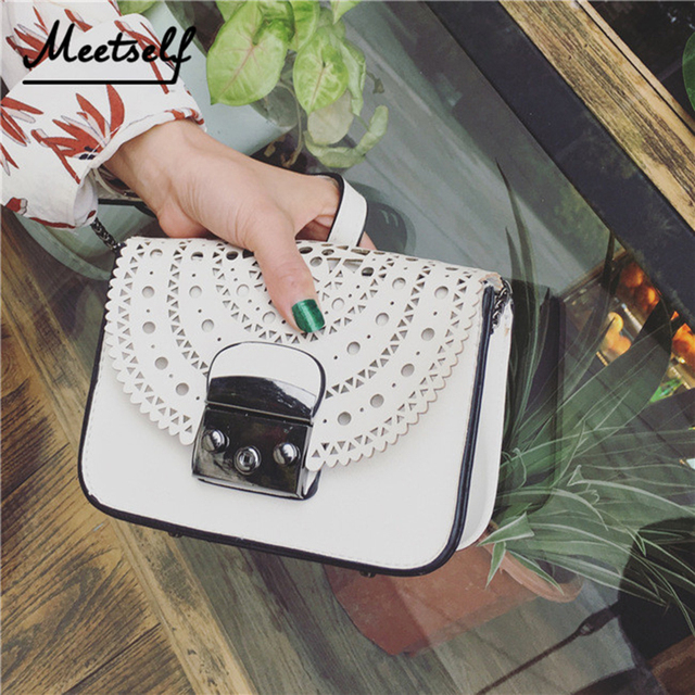 78e1f192ae99 MEETSELF 2018 Vintage Hollow Out Small Square Package Women PU Leather Girl  Crossbody Shoulder Bag Messenger Bag Clutch Handbag