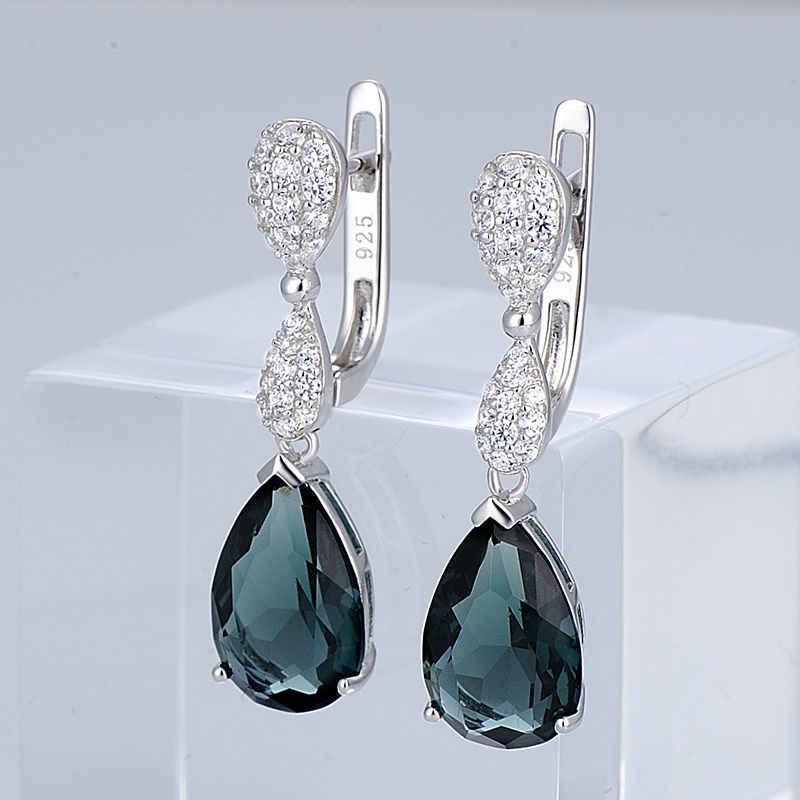 SANTUZZA Silber Schmuck Set Für Frauen 925 Sterling Silber Magie Grün Kristall Ohrringe Anhänger Set Trendy Modeschmuck