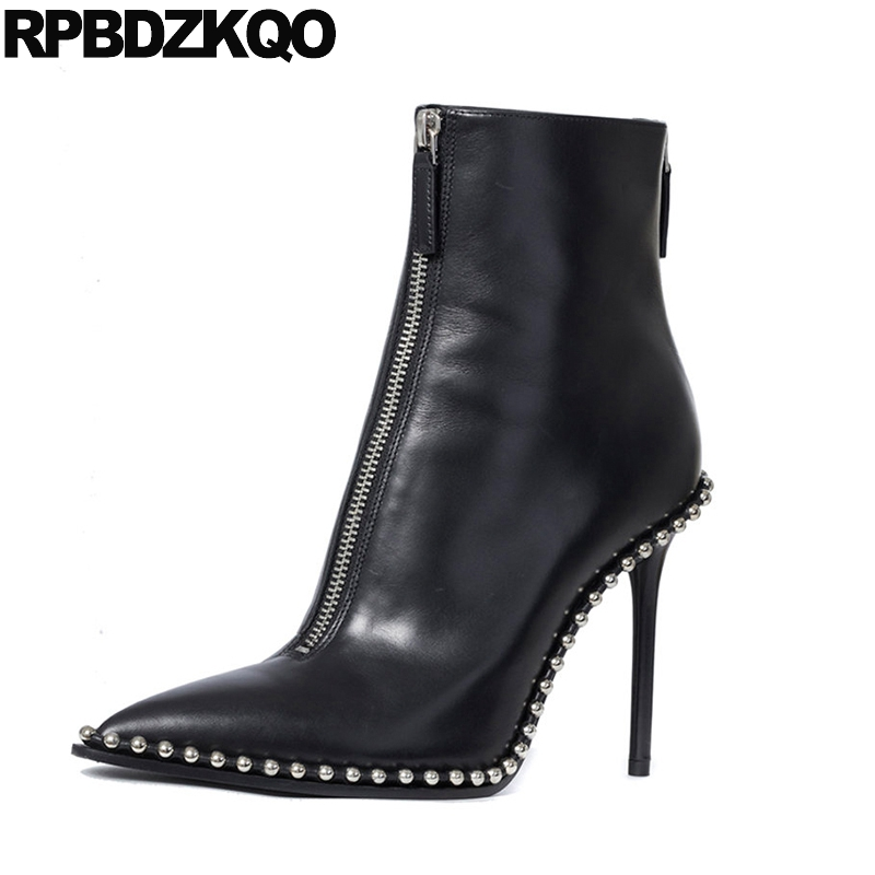 Metal High Heel Short Stud Autumn Fashion Black 2017 Booties Luxury Brand Shoes Women Pointed Toe Stiletto Zipper Ankle Chinese yanicuding round toe women flock ankle booties metal short boots zip design luxury brand fashion runway star autumn shoes flats