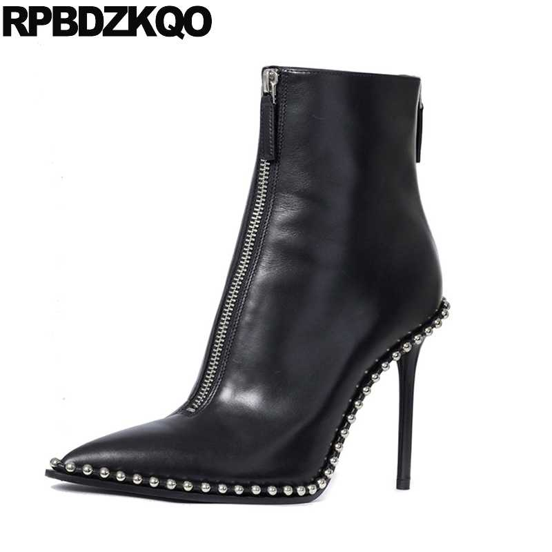 Metal High Heel Short Stud Autumn Fashion Black 2017 Booties Luxury Brand  Shoes Women Pointed Toe 28a6597e2f74