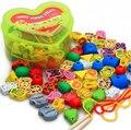 1 Компл. Творческий Деревянный Низания Бисера Животных Блоки Сердце-образная Коробка Резьбы Развивающие Игрушки