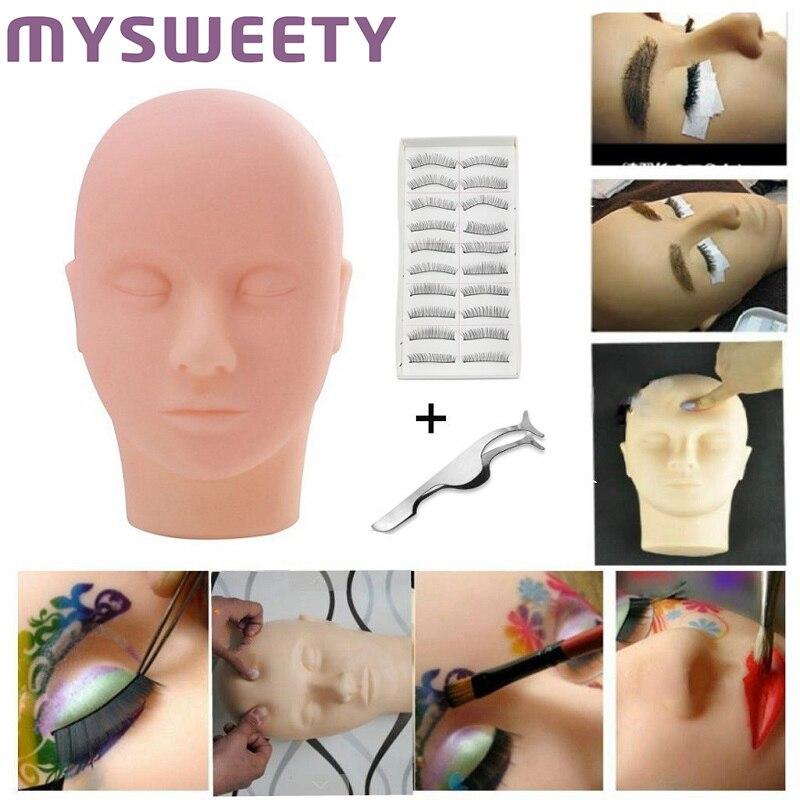 Manequim cabeça plana prática de silicone com extensões de cílios postiços modelo de maquiagem treinamento de massagem