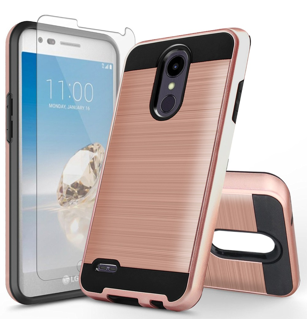 huge discount 7d710 c2ca1 US $3.49  2 in 1 Hybrid Armor Cases For LG Aristo 2 X210MA /Tribute  Dynasty/Rebel 3 Dual Layer Shockproof Phone Cover Skin+Tempered Glass-in  Fitted ...