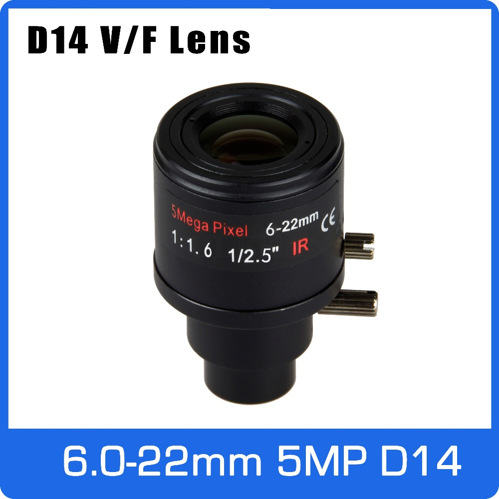 5Megapixel Varifocal CCTV Lens 6 22mm D14 Mount 1 2 5 inch Manual Focus and Zoom