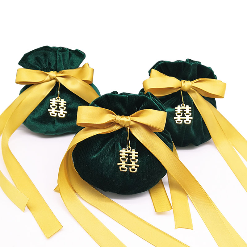 11x15cm Dark Green Round Bottom Velvet Bags Yellow Tassel Drawstring Packaging Pouch Bags Jewelry Gift Packing Bag For Wedding