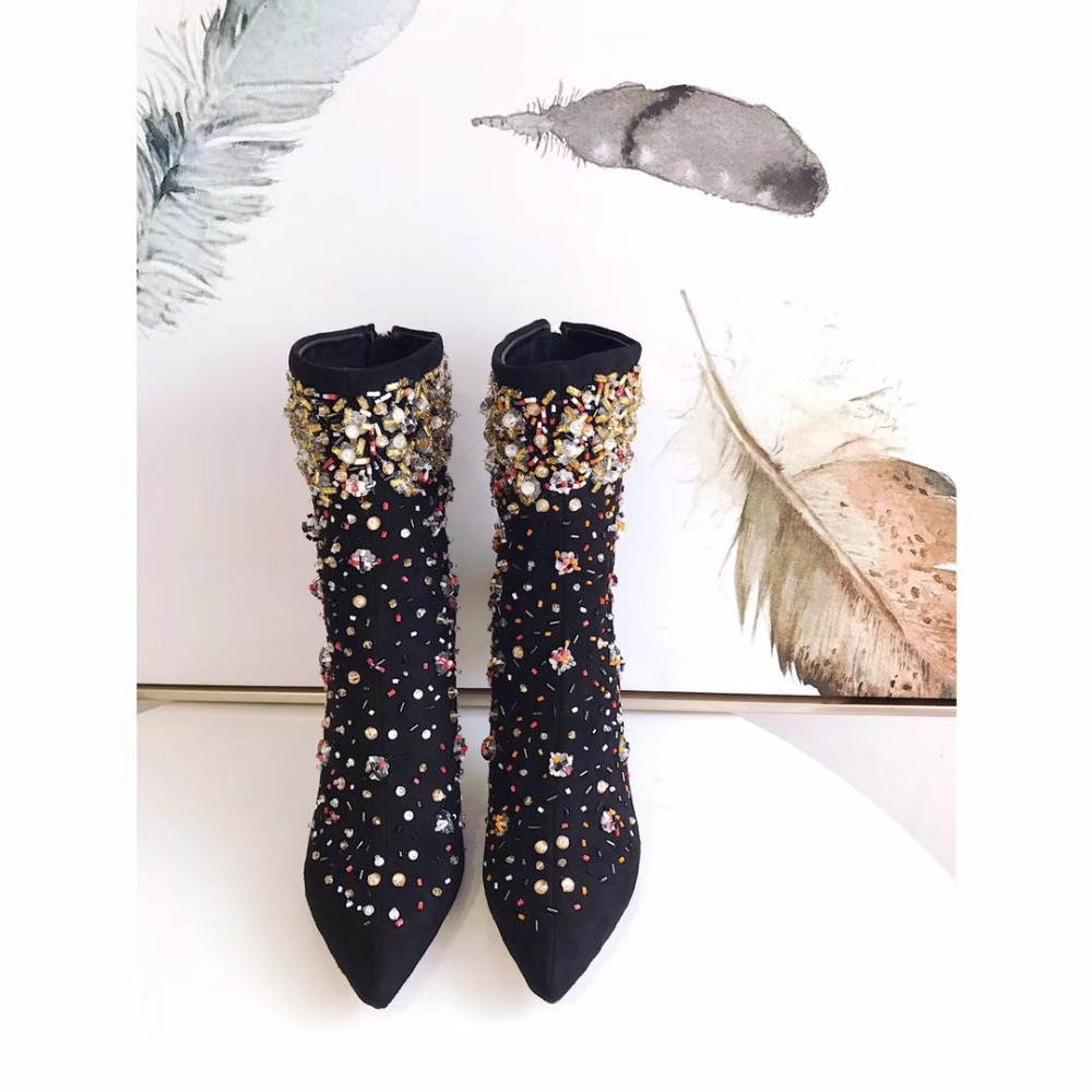 2017 new style fashion women handwork high-heel  with pearls and rhinestone vintage boots high quality free shipping high tech and fashion electric product shell plastic mold