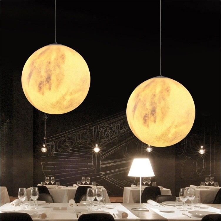 Creative 3D Print Pendant Lights Novelty Moon Atmosphere Night Light Lamp Restaurant/Bar Hanging Lighting - 2