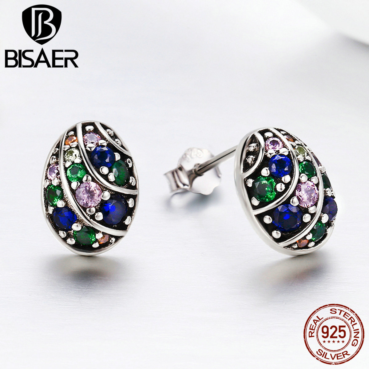 BISAER Authentic 100% 925 Sterling Silver Brincos Easter Egg Shape Round Exquisite Stud Earrings for Women Silver Jewelry GXE293