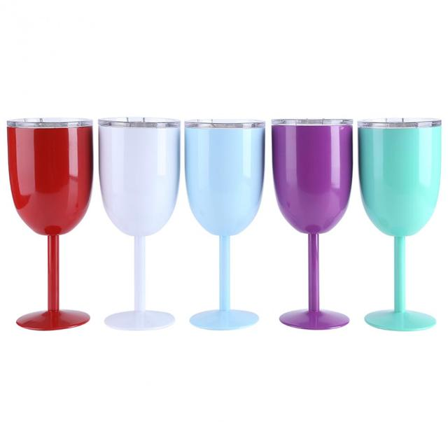 Perfect Stainless Steel Cocktail Tumbler Vacuum Insulated Wine Cup Juice Drinks  Goblet Mug With Lid Stainless Steel