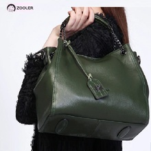 ZOOLER brand genuine leather bag woman tote elegant alligator pattern solid shoulder black bolsa feminina H120
