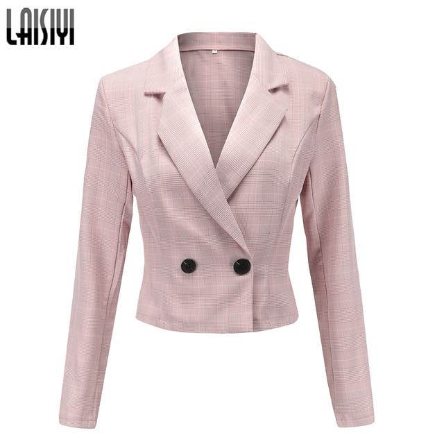 7d90f2ebeeca LAISIYI Plaid Women Blazers for Office Long Sleeve Elegant Ladies ...
