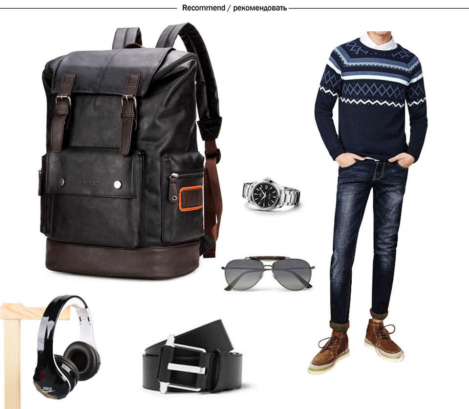 fbe89e900a8d See more. Similar products. See more · KAVIS Black Simple Patchwork Large  Capacity Mens Leather Backpack For Travel Casual Men Daypacks ...