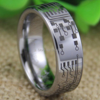 Cheap Price Free Shipping USA UK CANADA RUSSIA Hot Selling 8MM CIRCUIT BOARD Design Silver Pipe Men's Lord Tungsten Wedding Ring