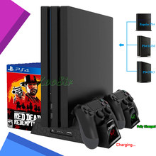 PS4/Pro/Slim Console Stand PS 4 Support Base Cooling Fan Cooler Controller Charger Games CD Disc Holder Rack for Playstation 4(China)