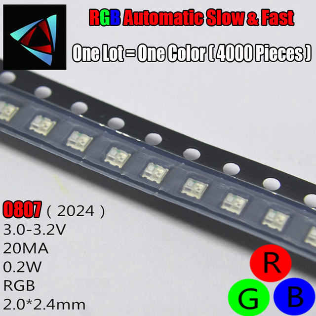 3000Pcs 0807 Slow And Fast Flashing RGB SMD Led Lamp 0805 RGB Slow Fast Flash Diode Colorful Diodes DIY