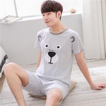 2018 Summer Men Pyjamas Short Sleeve 100% Cotton Casual Pajamas Set Sleep Shorts Suit Male Big Size Sleepwear Lingerie XXXL