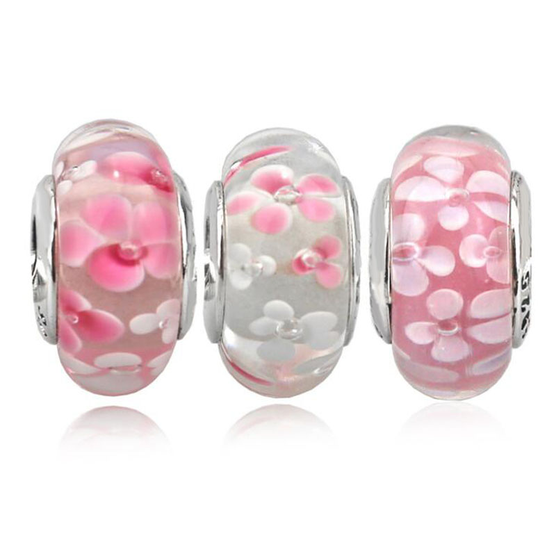 Di alta Qualità Bella Diversi Rosa Fiore Modello 925 Sterling Silver Murano Fascino Raccordo Europeo Braccialetto di Fascino D'argento