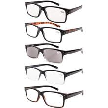 R032 eyekepper 5 pack primavera dobradiças vintage óculos de leitura homem inclui leitores de sol + 0.00     + 4.00