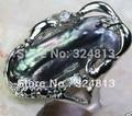 Envío gratis impresionante barroco negro perla anillo #2366 Venta de Joyas