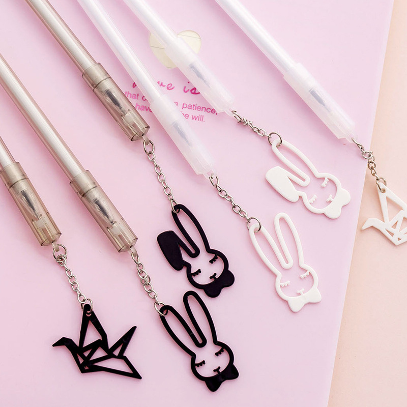 Creative Rabbit Pendant Black Ink Gel Pen Kawaii Neutral Pen Cute Pens For School Office Writing Gifts Korean Stationery