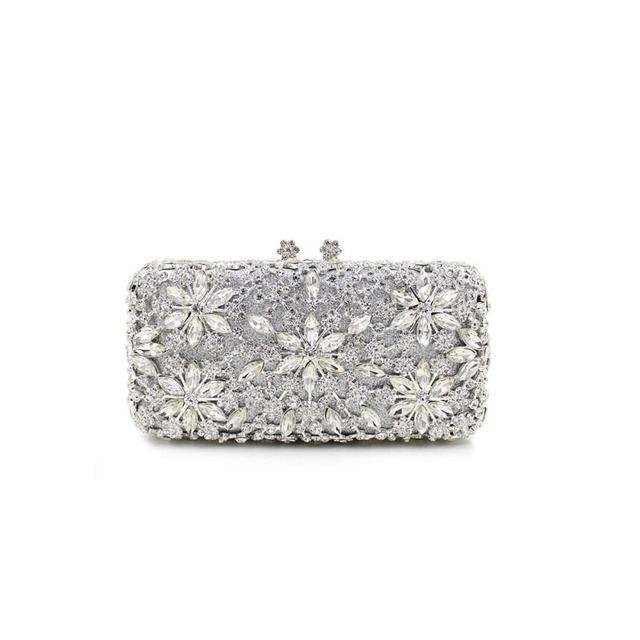 Bl002 Long Shape Evening Clutch Bag Rhinestones Gold Silver Party With Chain Wedding Purse Diamond