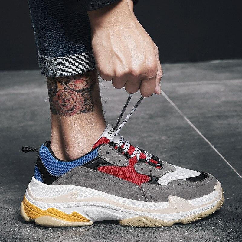 2018 Vintage New Thick Platform Mens Running Shoes Ladies Outdoor Sports Sneakers For Men Cushioning Walking Harajuku Streetwear цена 2017