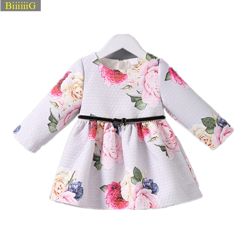 2018 Spring Autumn Newborns Infant Floral Baby Girl Dress High Quality Fabric Print Flowers Children Clothing For Girls Clothes