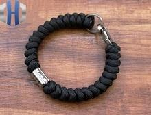 Hand-woven Titanium Alloy Tritium Tube Luminous Fall + Key Chain EDC Umbrella Bracelet