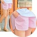 Verano de maternidad negro pantalones cortos de algodón blanco cortos del embarazo Premama llevar ropa fondo cortos de cintura elástico para embarazada