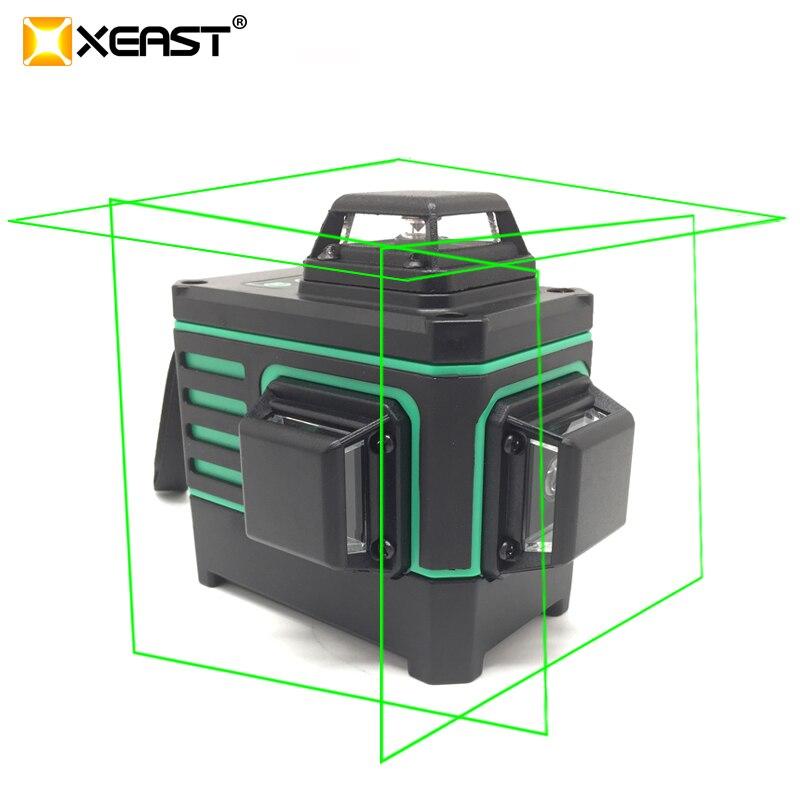 XEAST XE-360G 12 Linien Grün 3D Laser Ebenen Selbst Nivellierung 360 Horizontale Und Vertikale Kreuz Super Leistungsstarke Grün Laser strahl Linie