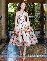 2018 Apricot Pink Spaghetti Straps Roses Print Ball Gown Dresses Women Elegant Twisted silk Designer Dress 80153