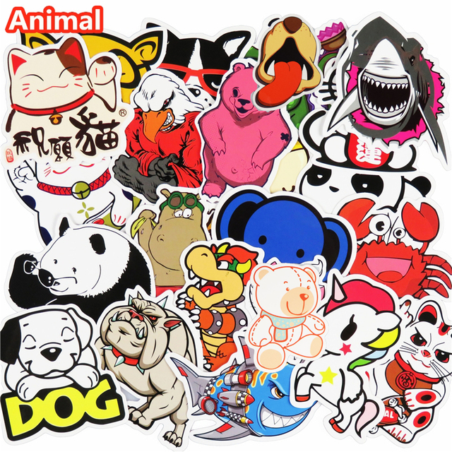 50 pcs Stickers Cute Animal Hot sale Home decor Toy styling Television Decal Laptop Motorcycle Skateboard Doodle Diy Sticker