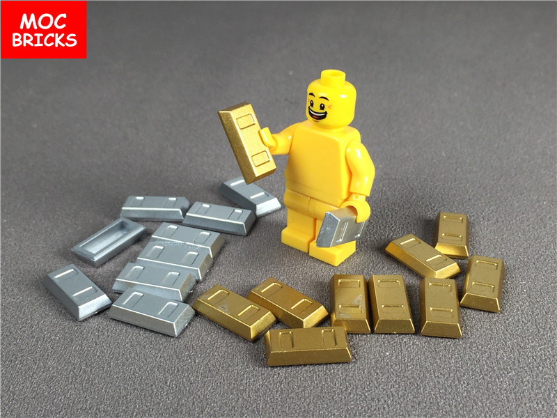 20pcs/lot Moc Bricks Gold & Silver Utensil Ingot Toys & Hobbies Blocks Bar Fit With 99563 Building Blocks Diy Bricks Action Figure Toys For Children