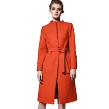 2 Colors Women Wool Coats Autumn Winter 2017 New O-Neck Ladies Slim Jackets Female Long Elegant Coat Women's Woolen Jacket F017