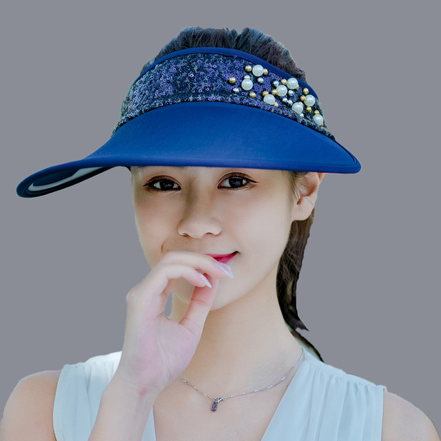 8e418f6020c 2018 new women summer Sun Hats Pearls Sequins packable sun visor hat with  big heads wide brim beach hat UV protection female cap