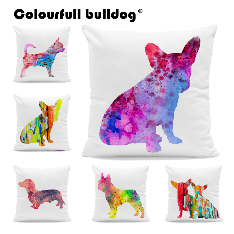 Home & Garden Table & Sofa Linens Lovely Animals Pet Dog Puppy Cat Pattern Cushion Cover For Sofa Home Decor Almofadas 18 Inch Decorative Throw Pillows Case Jade White