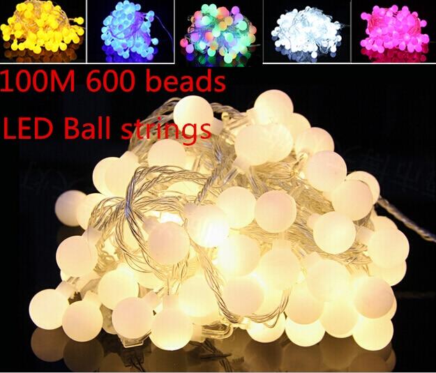 Fée 100 m 600 LED luminaria décoration guirlande boule chaîne lumières noël nouvel an vacances fête mariage luminarias lampes