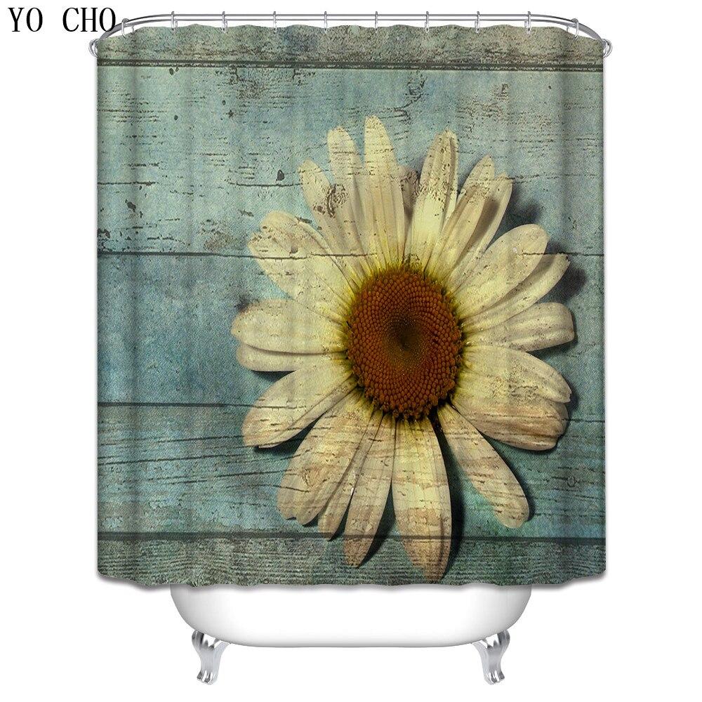 Sunflower bathroom decor - Hot Selling Vintage Faux Wood Polyester Bath Curtain Navy Anchor Flower Shower Curtain Bathroom Decor Various