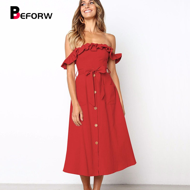 BEFORW Female Sexy Off Shoulder Party Midi Dress 2019 Women Elegant Ruffles Dresses Vestido Solid Casual Button Summer