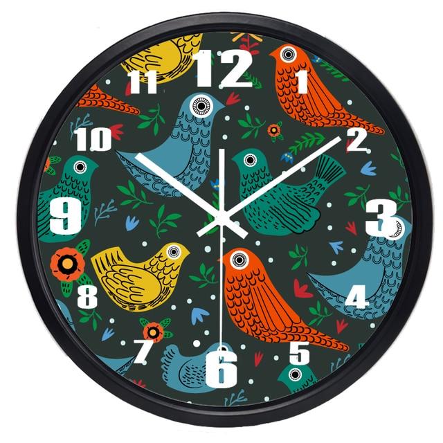 Gemalt Vögel Bunte Wanduhr Beliebt Tickt Multi Farben Wohnzimmer Kreative  Französisch Moderne Uhr